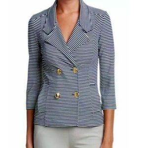 CAbi Nautical Blue and White Striped Blazer Jacket